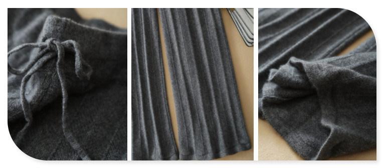 Women's Knitting Leggings 100% Cashmere Pants with Waist Belt