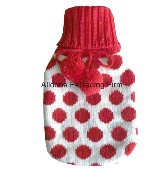 Knit Hot Water Bottle Cover Cozy Cosy Made in China