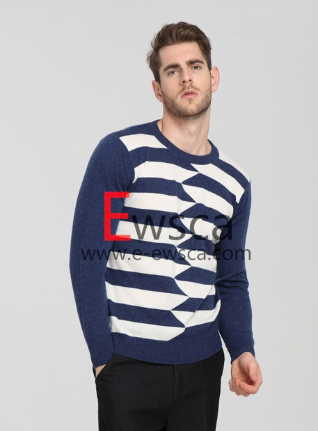 Men's Colored Stripes Combined Pure Cashmere Sweater