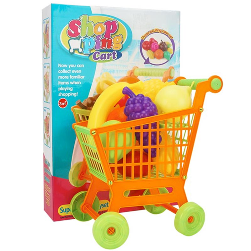 Childrens Shopping Cart with Vegetables Toy Set