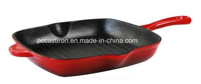 Color Enamel Cast Iron Skillet Pan with 24cm Dia