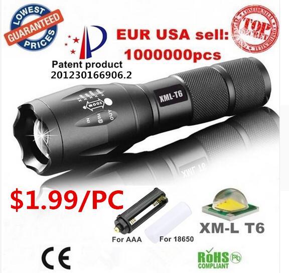 USA EU Hot E17 Xm-L T6 Aluminum Waterproof Zoomable LED Torch Light