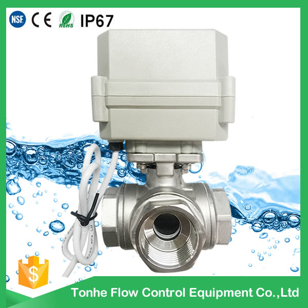 3-Way Horizontal L-Type Electric Control Stainless Steel Valve Motorized Actuated Water Ball Valve