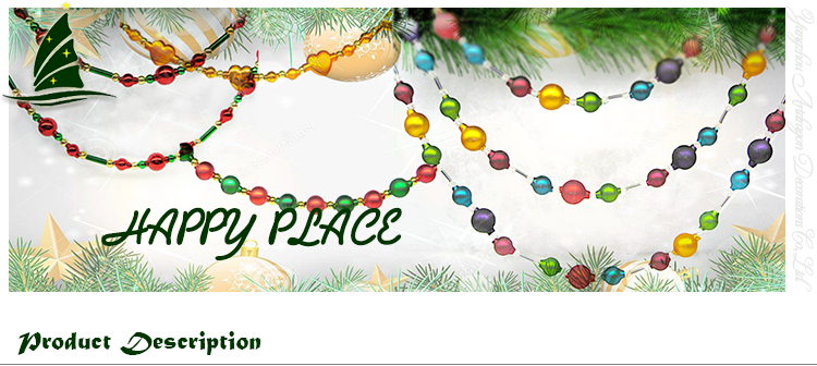 Colorful Glass Garland for Christmas Ornament Decoration