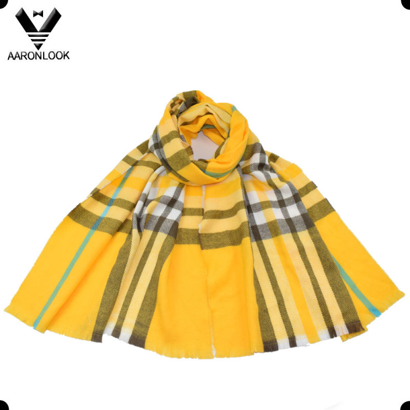 Trendy Multicolor Check Knit Long Plaid Blanket Scarf