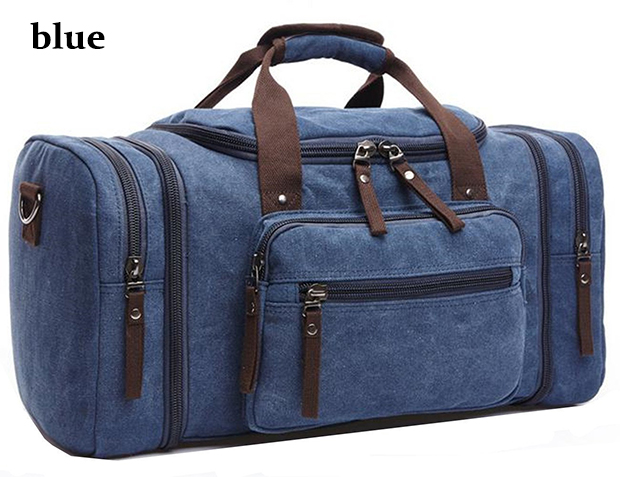 Blue Black Khaki Travel Bag Carry on Luggage Personalised Canvas Bags