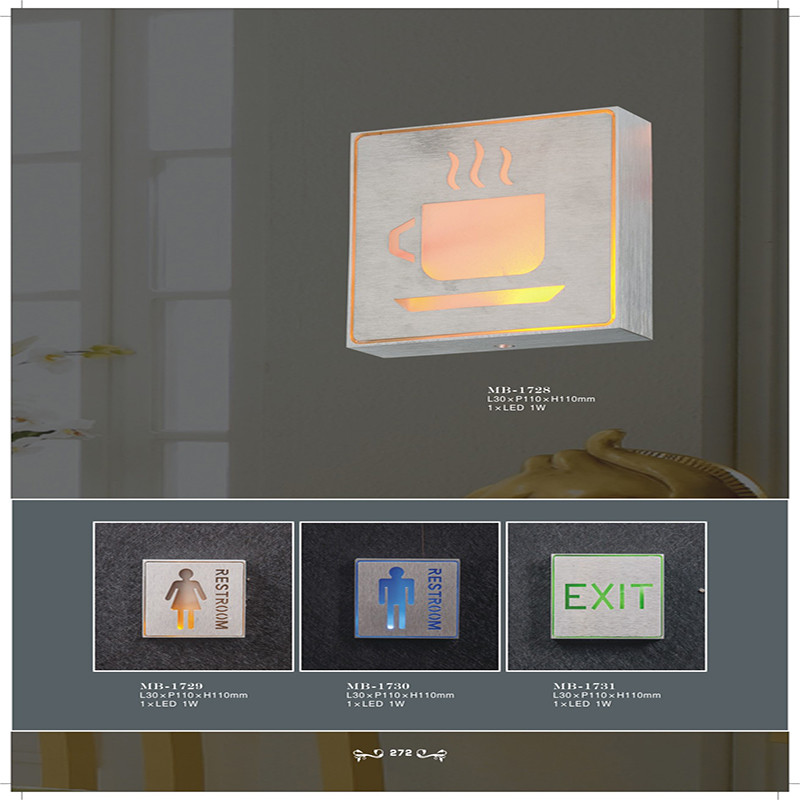 High Quality Aluminum and PVC Taliet Exit LED Signal Wall Lamp