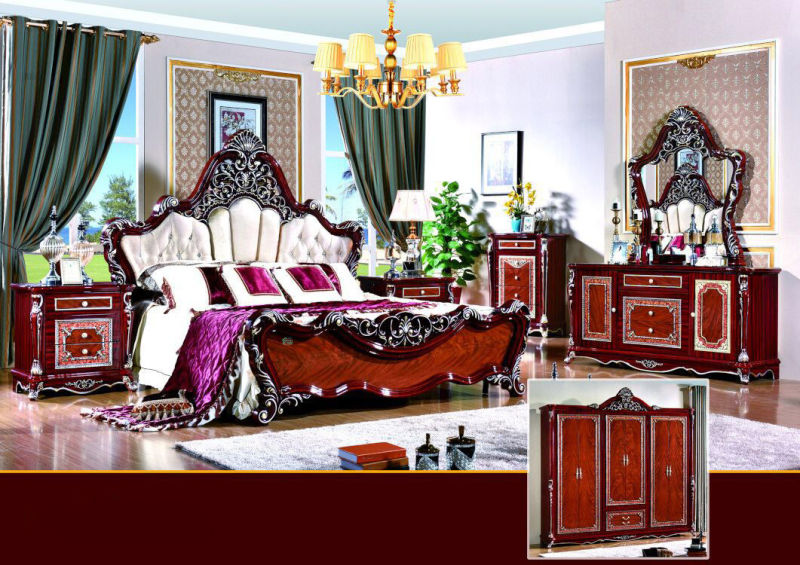 Antique Bedroom Furniture with King Bed and Wardrobe (W811A)