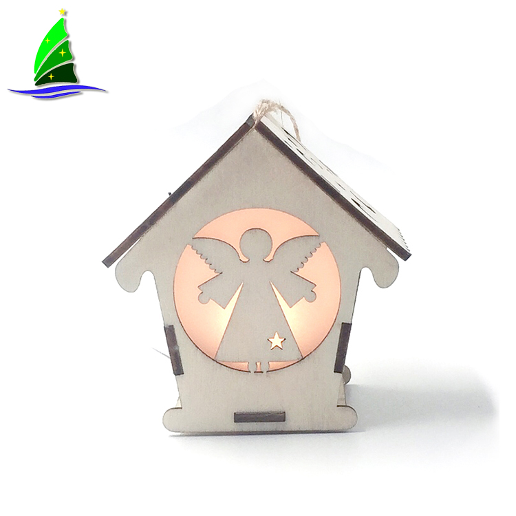 Wooden Hanging House with LED Light