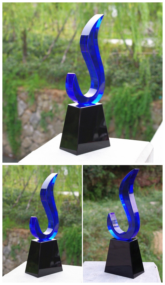 Custom K9 Crystal Trophy Double Color Crystal Awards - Free Engraving