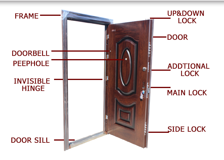 TPS-032 New Model Safety Stainless Entrance Iron Gate Steel Main Double Door Design