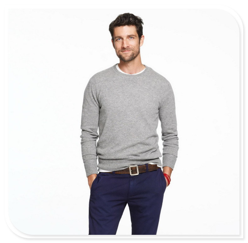 Men's Cashmere Sweater Long-Sleeved Round Collar Pure Cashmere Knitting Sweater