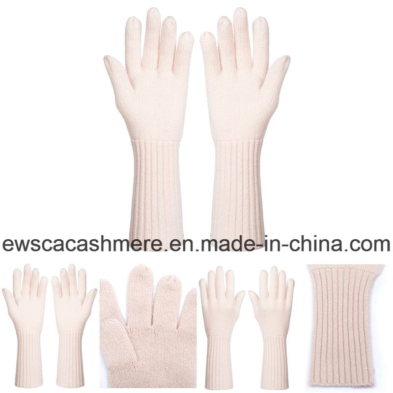 Women's Fresh Style Pure Cashmere Gloves with Pink Color