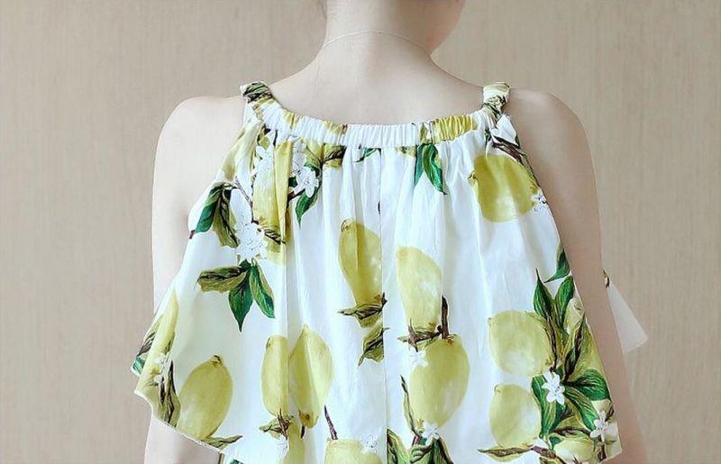 Summer Sleeveless Fresh Lemon Lovely Girl's Dress