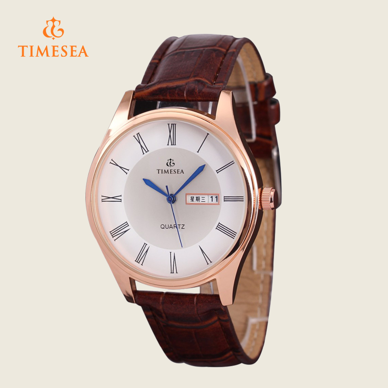 Luxury Watch Men Leather Rose Gold Blue Hand Watches 72338
