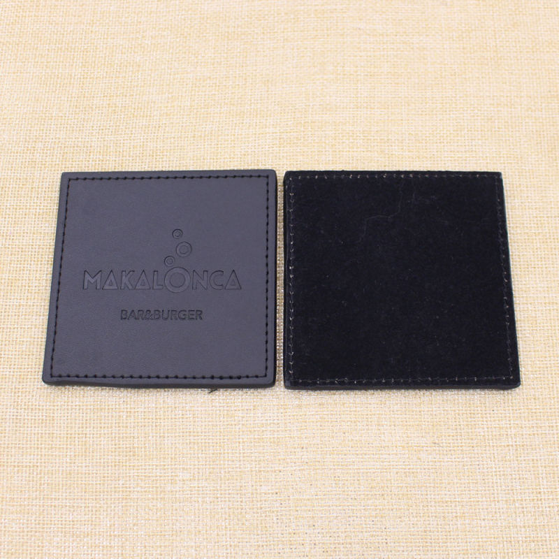 Custom Company Logo/Text Leather PU Cup Mat From Zhongshan China