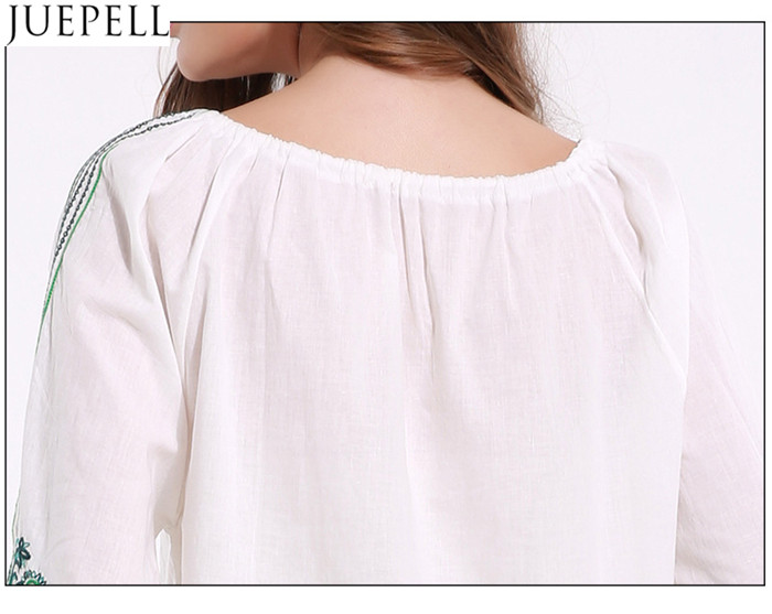 Summer New Women Strap Pleated Sleeve Shirt Embroidered Retro Big Yards Loose Shirt T-Shirt Blouse