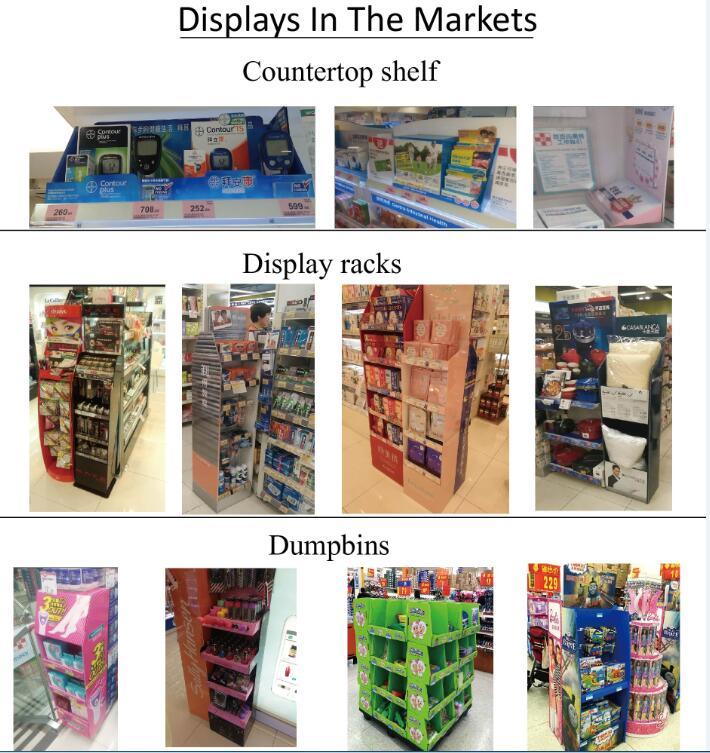 Drinks Paper Display Shelf, Multi-Faced Cardboard Display Stand