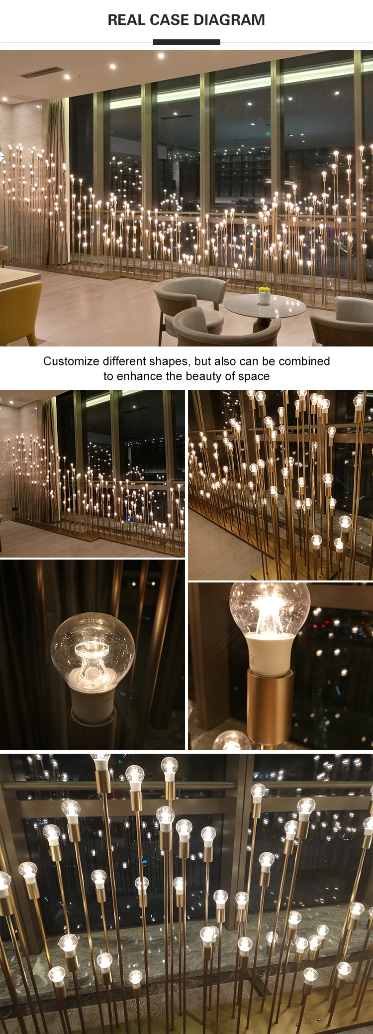 Copper decorative lights for hotel lobby decoration