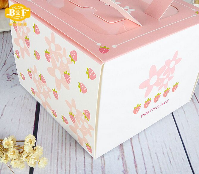 Cheap Brown Kraft Paper Cake Box with Handle