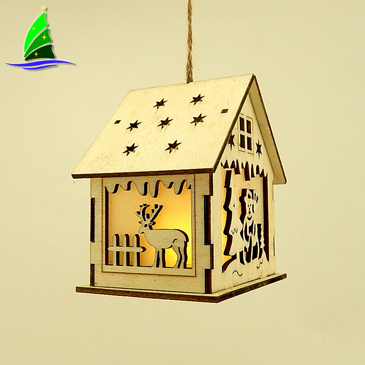 LED Light Wooden Christmas Church House