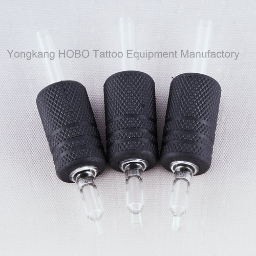 Top Quality 25mm Disposable Tattoo Black Silicone Rubber Grips with Black Tips