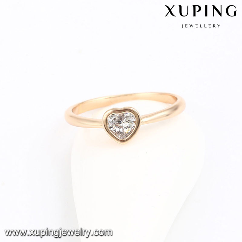 13953 Fashion Latest Cubic Zirconia Heart Shape Jewelry Finger Ring in 18k Gold -Plated