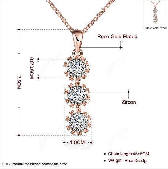 Beautiful Jewelry Set Rose Gold Plated Zircon Flower Shape Necklace Ring Earring