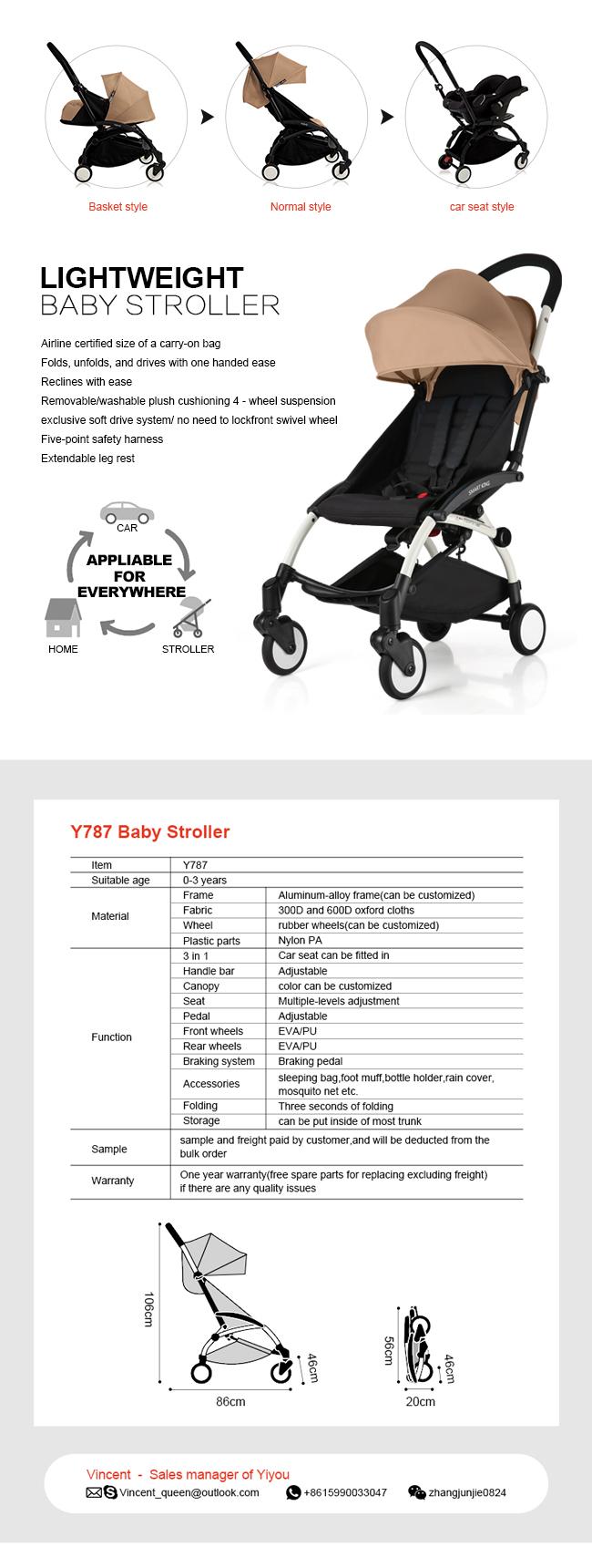Foldable Aluminum Alloy Lightweight Stroller with En1888