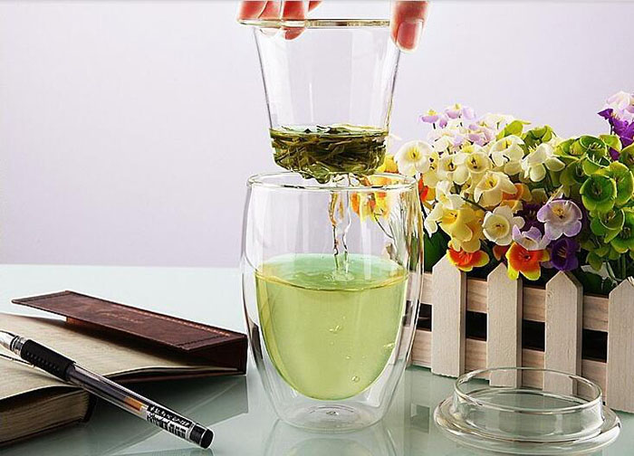 Office Glass Tea Cups/Mugs with Infusion for Pomotion Gifts