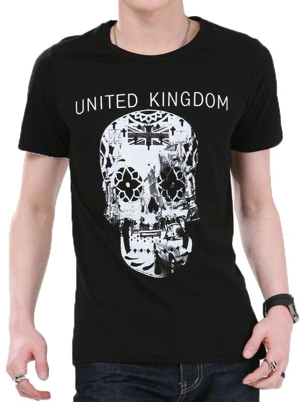 Black and White Skull Design Printing Wholesale Fashion Cotton Men T-Shirt