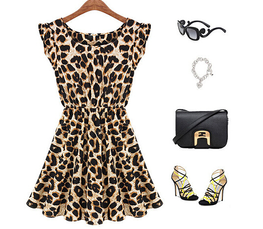2015 New Fashion Sweet Girl's Leopard Dresses