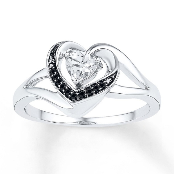 Black CZ Heart Diamond Wedding Ring 925 Sterling Silver Jewelry