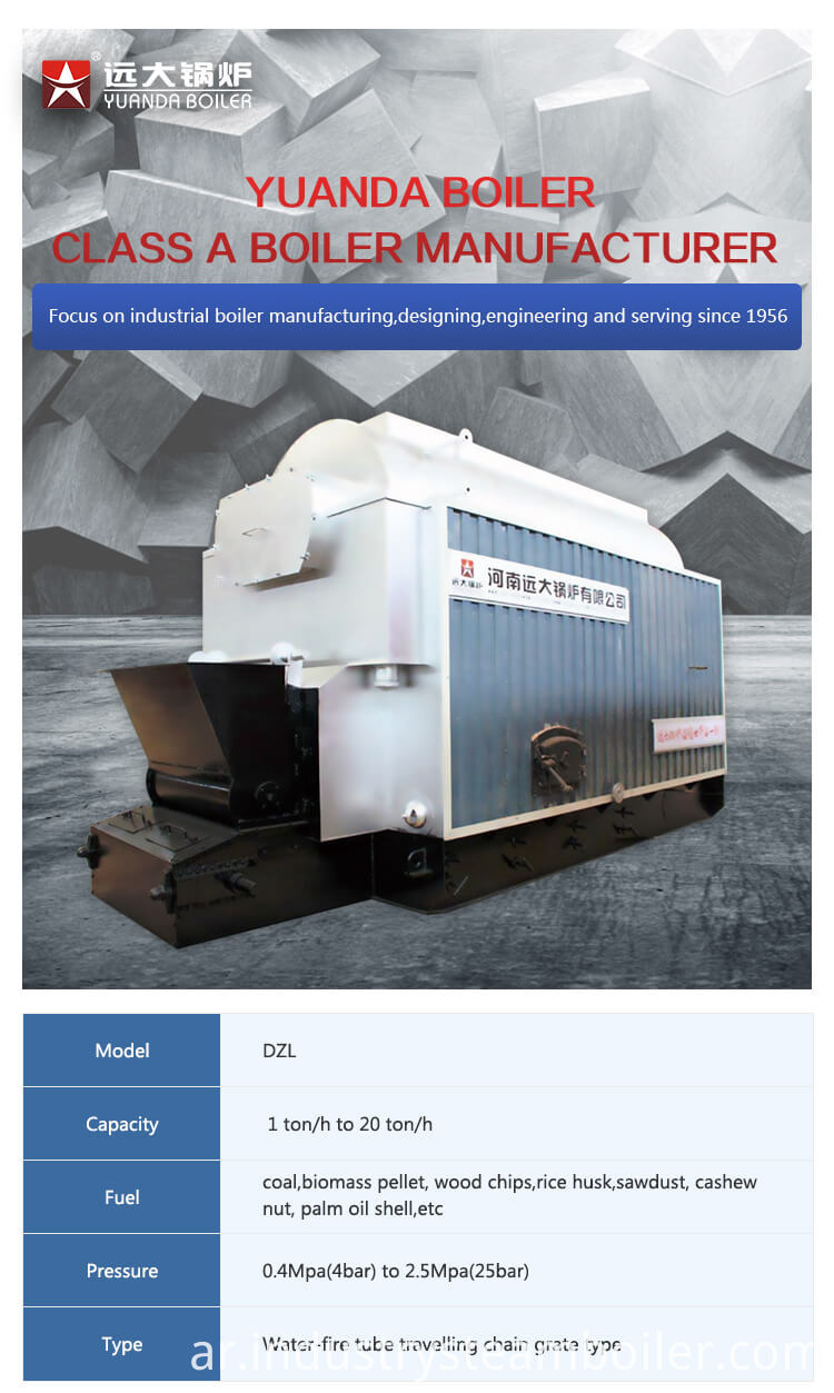 6 t coal fired boiler for wig factory