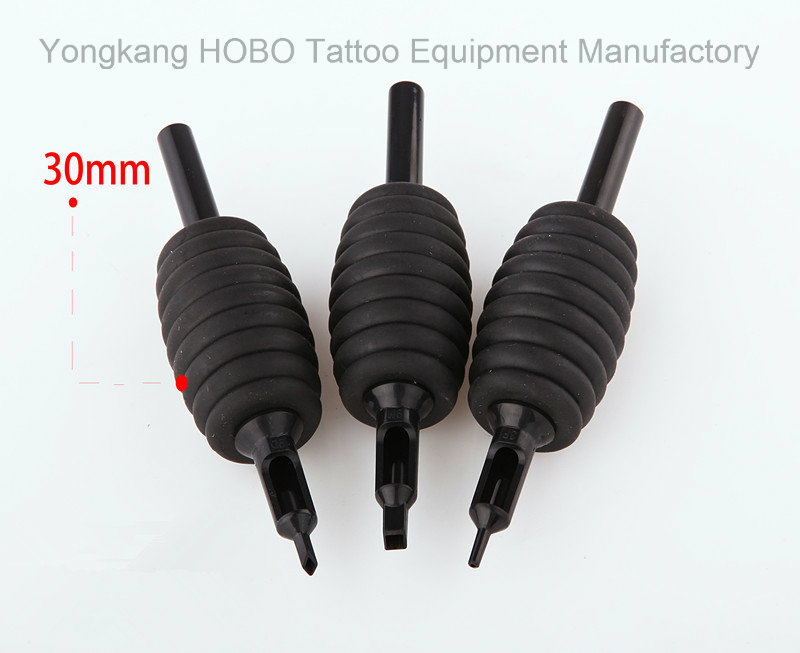 Silicone Rubber 30mm Black Disposable Tattoo Tubes with Black Tips