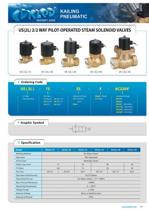 2/2 Way Pilot Operated Steam Solenoid Valves