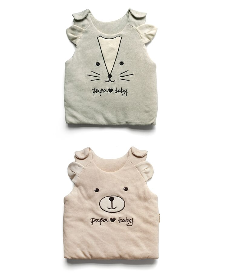 Good Quality Winter Organic Baby Vest with Animal Embroidery