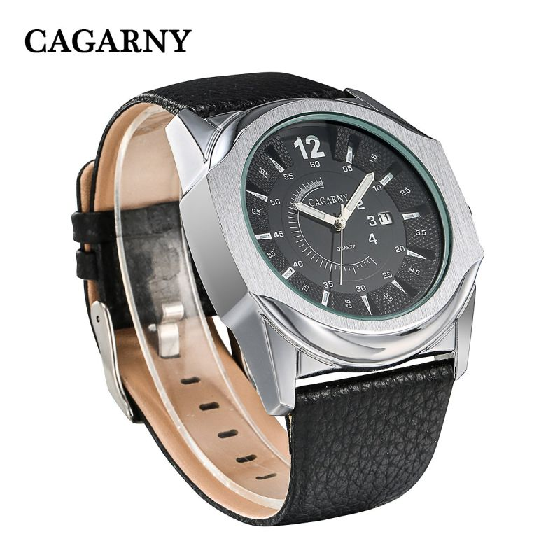 Big Dial Watch Leather Strap Ss Buckle