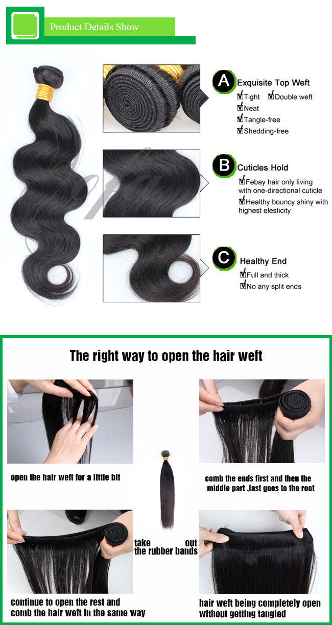 7A Grade Top Quality Weave Human Hair Remy Virgin Hair Extension