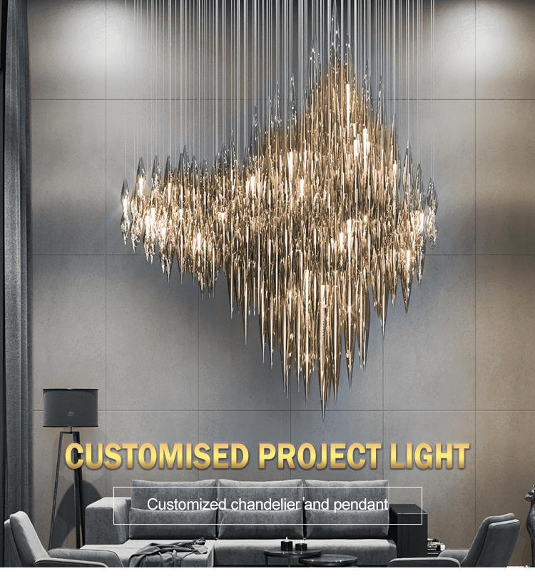 Candelabro de cristal profissional personalizado de estilo único e luxuoso para sala de estar