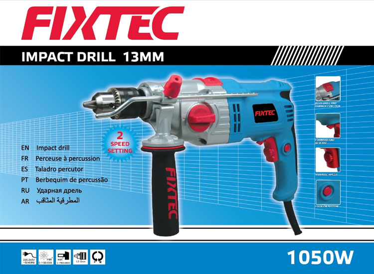Fixtec Professional Power Tools 1050W 20mm Electric Impact Drill