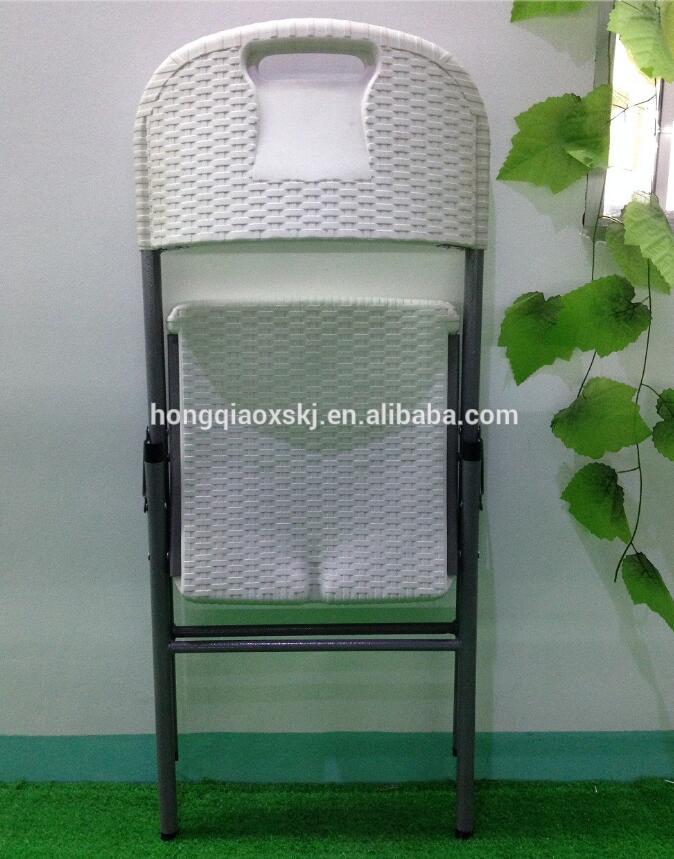 Cheap Rattan Folding Chair, White Wicker Chair, HDPE Plastic Foldable Chair with Rattan Design