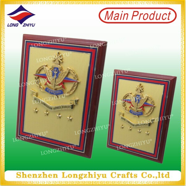 High Quality Promotional Wooden Plaque with Metal Plate for Gift