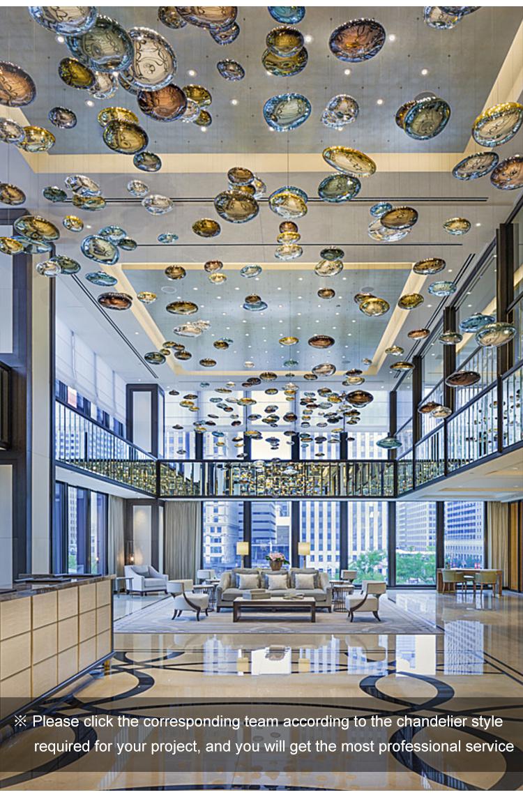 Candelabros de bola de cristal de lujo Proyecto de hotel Techo decorativo moderno Luz de araña led
