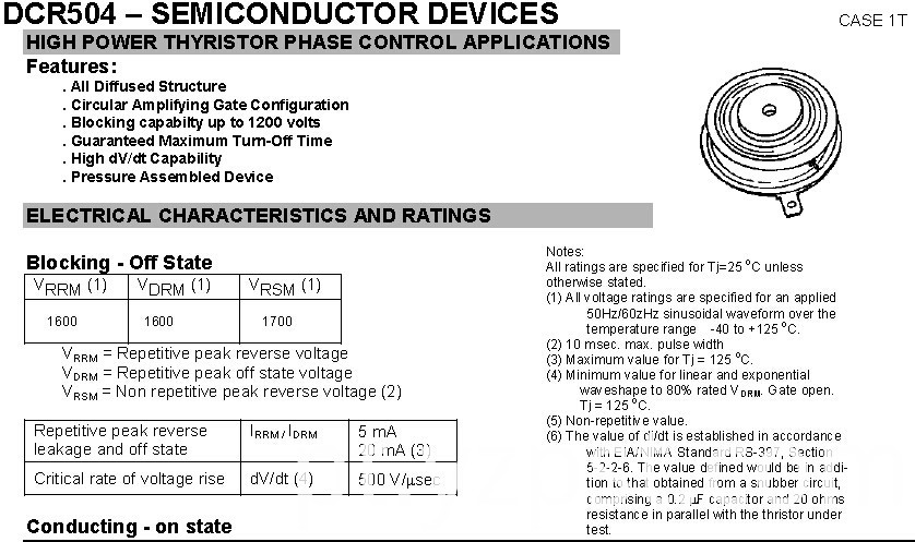 Semiconductor Devices DCR504 Power Thyristor