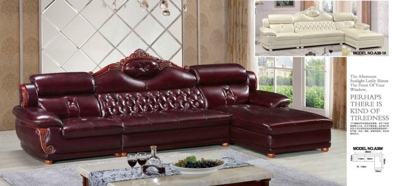 New Design Leather Sofa with Wooden Frame, Antique Sofa (A38)