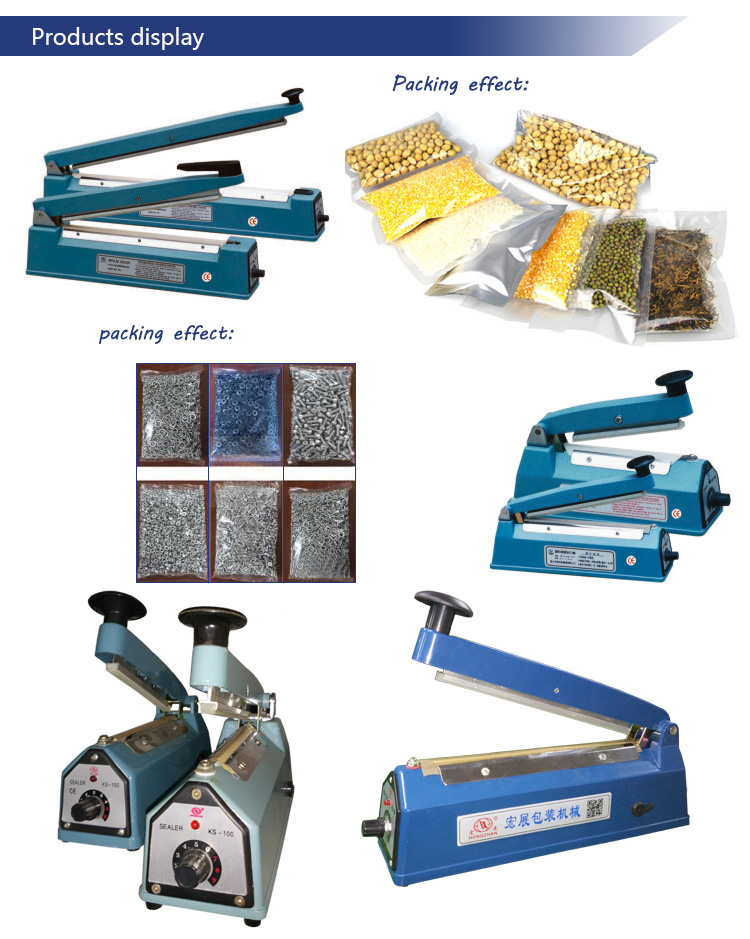 Impulse Hand Sealer for Plastic Film and Kraft Paper with Heat Strip and Knife Cutter