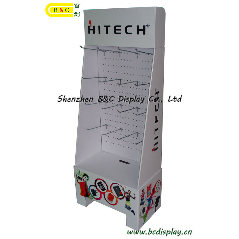 Earphone Cardboard with MDF and Hooks Display Stand with SGS (B&C-B003)