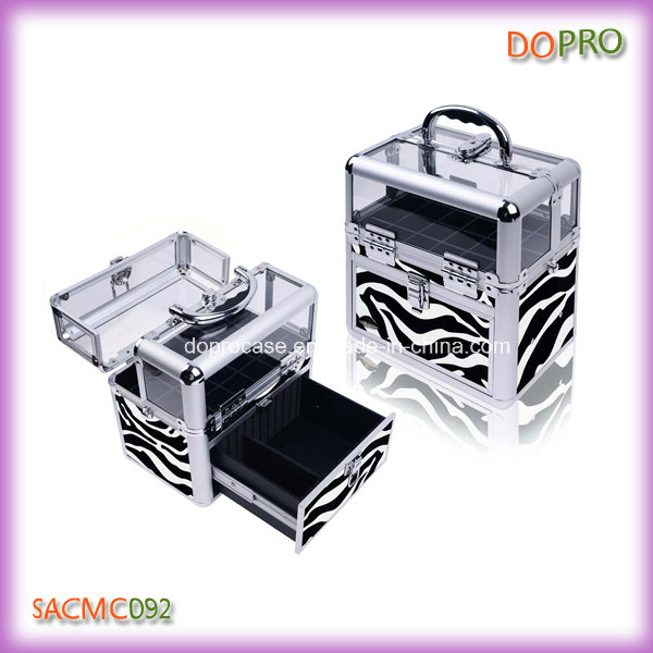 Top Acrylic Professional Nail Storage Box Zebra Nail Polish Carrying Case (SACMC092)