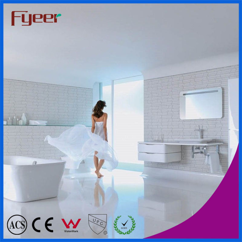 Fyeer Deck Mounted Chrome Plated Straight Spout Dual Handle Brass Bathroom Wash Basin Faucet Water Mixer Tap Wasserhahn